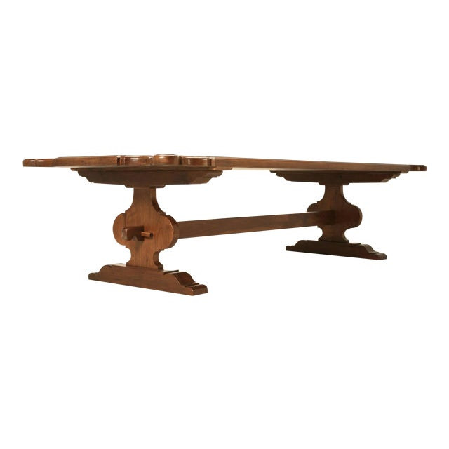 Italian Farm Table Made from Huge Planks of Solid Mahogany For Sale