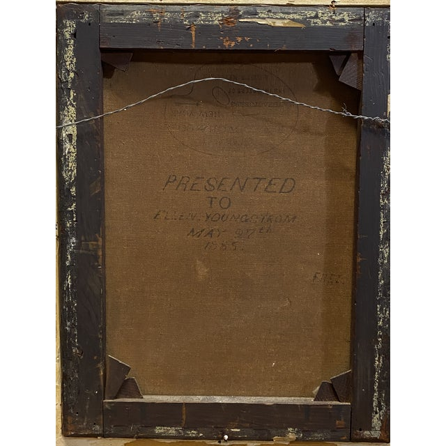 Tan Antique 19th C. Oil on Canvas Portrait of a Handsome Bearded Man White Gilt Gold Frame For Sale - Image 8 of 11