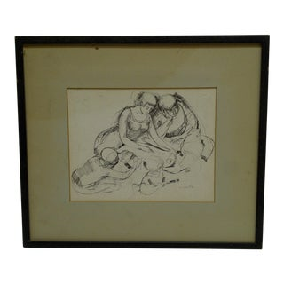 "Original ""Family Time"" Framed and Matted Sketch / Drawing by Morantz For Sale"