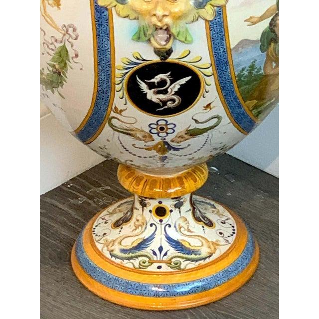 Stunning Ginori Majolica Allegorical Serpent Handled Vase For Sale - Image 11 of 13
