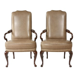 Pair of Queen Anne Style Leather Armchairs For Sale