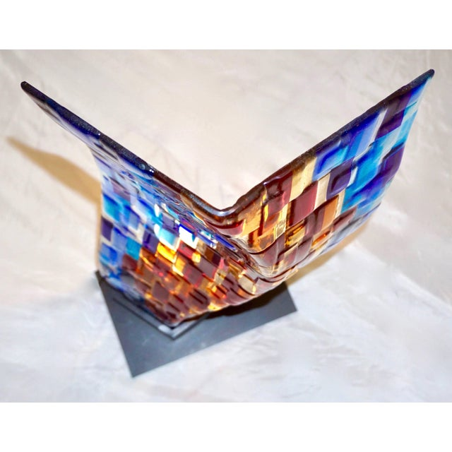 Contemporary Contemporary Italian Aqua Blue Red Yellow Murano Glass Mosaic Sculptural Lamp For Sale - Image 3 of 11