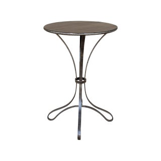 Industrial Handmade Round Iron Accent Table For Sale