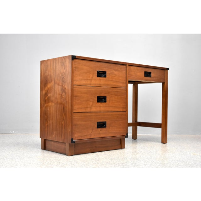 Drexel Mid Century Campaign Style Desk by Drexel For Sale - Image 4 of 13