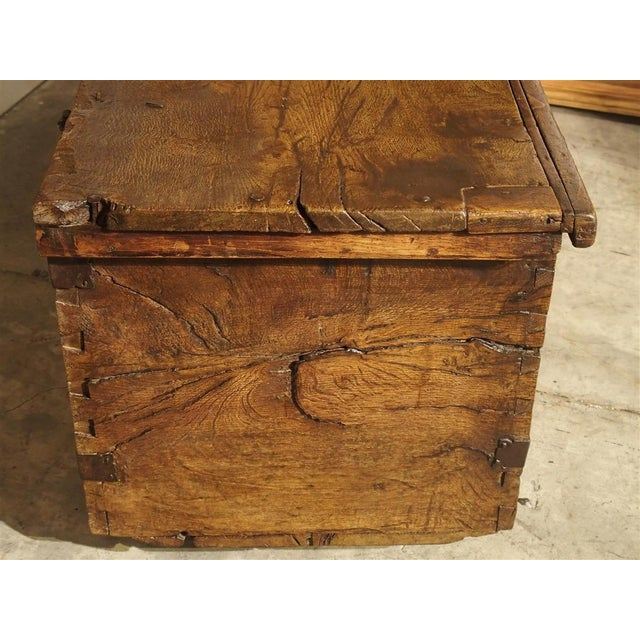 Large Carved Oak Plank Trunk From the Basque Country, Circa 1650 For Sale - Image 12 of 13
