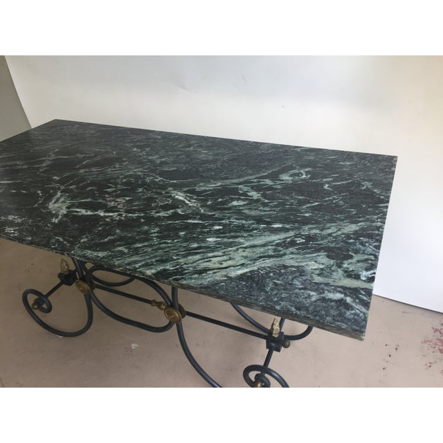 French Iron Marble Topped Table - Image 5 of 9