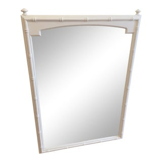 Vintage Hollywood Regency White Faux Bamboo Wall Mirror For Sale