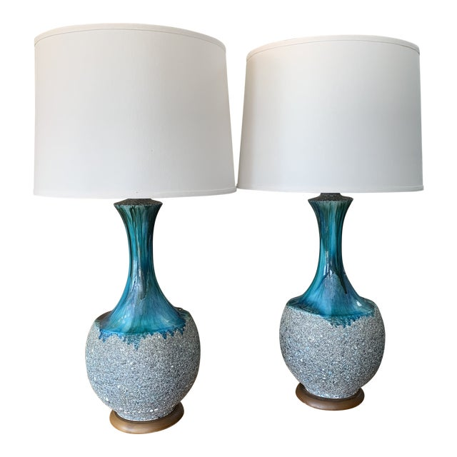 Pair of Drip Glaze Mid Century Lamps For Sale