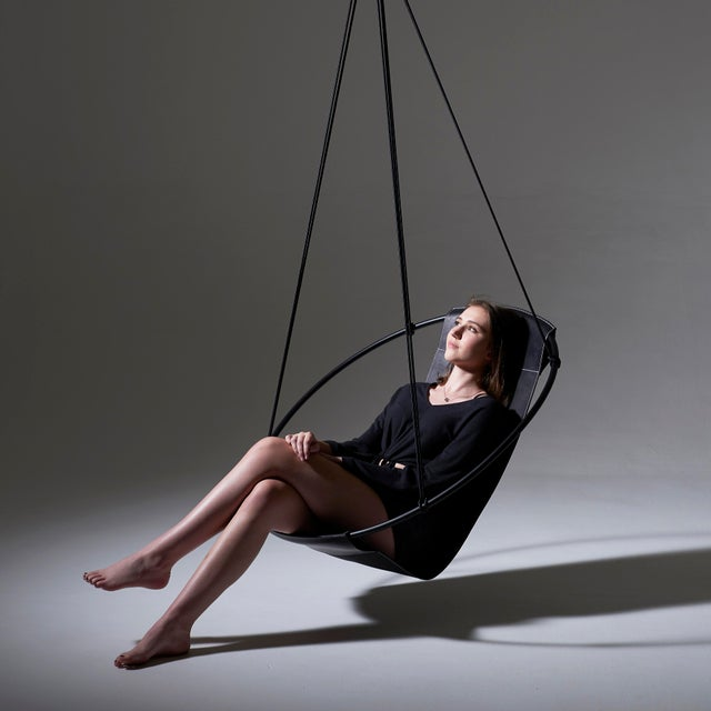 Metal Sling Hanging Chair - Black Leather For Sale - Image 7 of 9