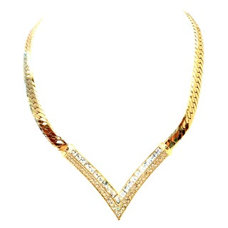 "20th Century Christian Dior Gold Plate & Swarovski Crystal ""V"" Necklace For Sale"