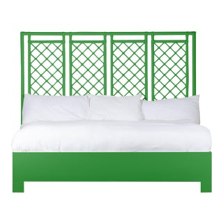 X & Diamond Bed King - Bright Green For Sale