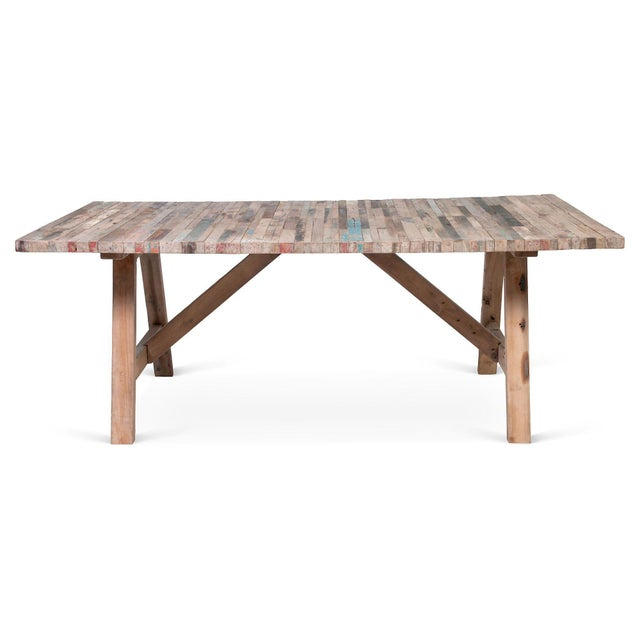 Primitive Salvaged Wood Balinese Trestle Table For Sale - Image 3 of 5
