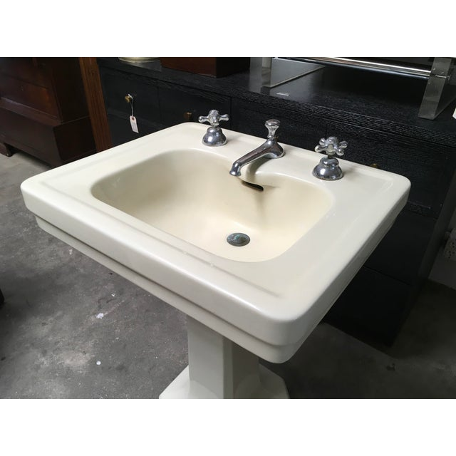 American Standard Antique Art Deco Pedestal Sink - Image 11 of 11
