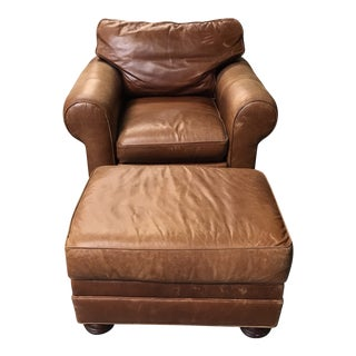 Stickley Cibola Internationale Leather Chair and Ottoman For Sale
