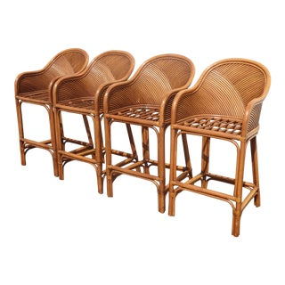 Set Four Tiki Palm Beach Style Bamboo Rattan Bar Stools W Green Cushion French For Sale