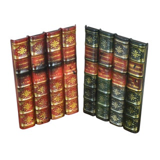 Maitland Smith Pair Leather Bound Faux Book Facades (K) For Sale