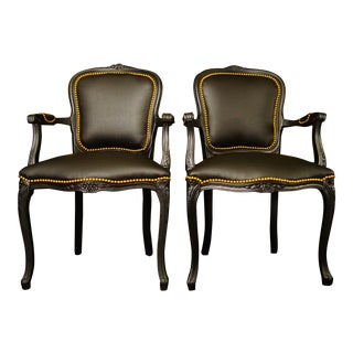 Vintage French Louis XV Black Chairs- a Pair For Sale