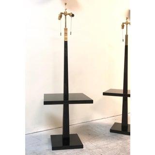 Tommi Parzinger Pair of Modernist Black Lacquer Floor Lamps Preview