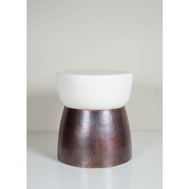 "Finish: Cream Lacquer and Antique Copper Technique: Lacquer and Repousse Period: Contemporary Dimensions: 16""Top Dia. x 18..."