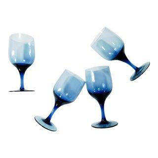 Blue Belle Wine Glasses - Set of 4 For Sale