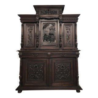 1800s Carved Antique Library Hutch