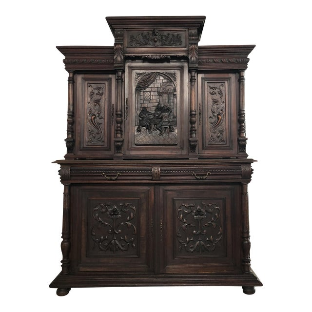 1800s Carved Antique Library Hutch For Sale