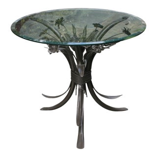 Glass Table With Metal Gray Floral Base For Sale
