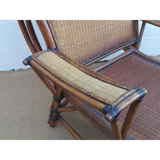 Asian Style Mandalay Rattan Club Chairs by Marge Carson With Rawhide Accent Bindings and Metal Accent Caps - a Pair For Sale In Miami - Image 6 of 12