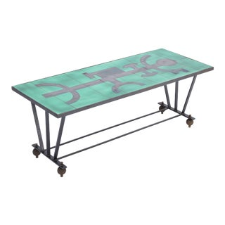 Vintage Metal Coffee Table With Enameled Green Ceramic Top For Sale