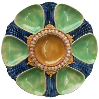 19th Century Victorian Majolica Oyster Plate