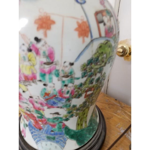 1920s Large Chinese Hand Painted Porcelain Temple Jars Mounted Table Lamps - a Pair For Sale - Image 5 of 7