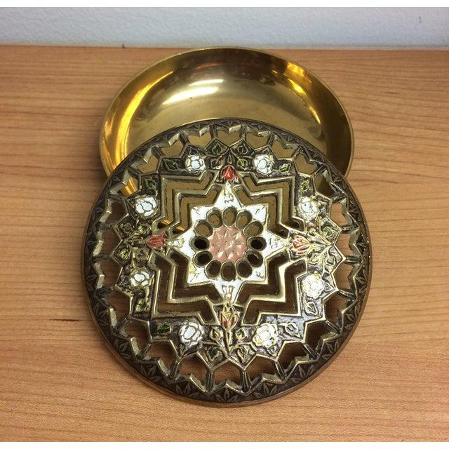 Asian Pierced Brass Lidded Trinket Box For Sale - Image 3 of 8