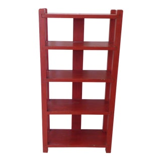 Vintage Arts & Crafts Cinnabar Red Oak Etagere For Sale