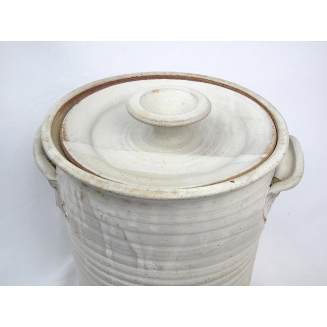 1970s Rustic Charles Gorrell Nw Coast Studio Pottery Lidded Cylinder Jar For Sale - Image 4 of 6