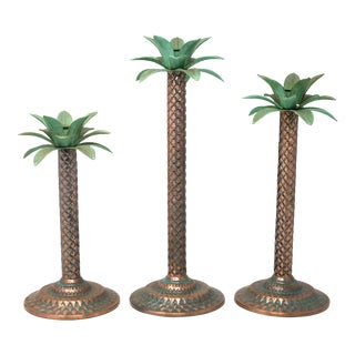 Metal Copper Palm Tree Taper Candle Holders - Set of 3 For Sale
