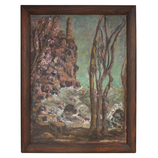 This early to mid 20th century oil on masonite seascape with trees and waves is unsigned. Framed in a restored vintage...