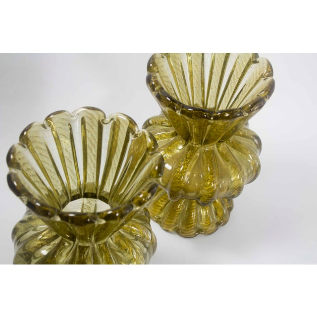 Murano 1920s Gold Murano Vases - a Pair For Sale - Image 4 of 5