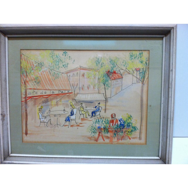 "This is Framed and Matted Hand-Colored Drawing that is titled ""Cafe De La Paix"" - The Artist is Unknown. The Drawing dates..."