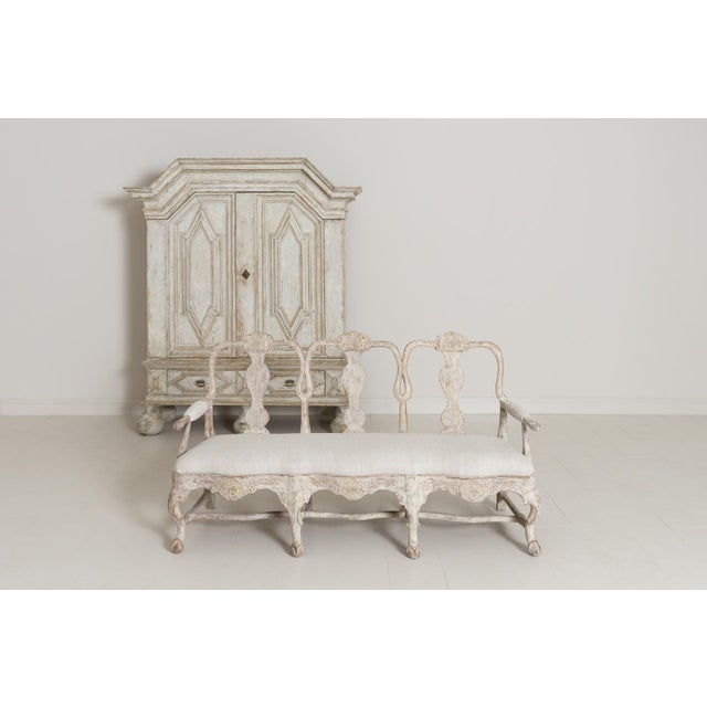 18th Century Swedish Rococo Period Settee or Bench in Original Paint For Sale - Image 10 of 12