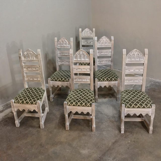 Early 20th Century Antique Rustic Gothic Stripped Dining Chairs- Set of 6 For Sale In Dallas - Image 6 of 12