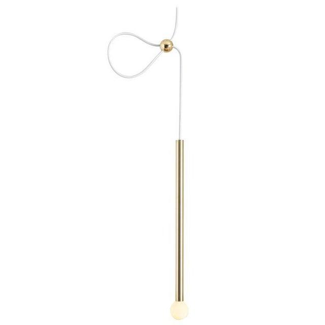 Contemporary Strike Modern Solid Brushed Brass Adjustable Pendant Light For Sale In Portland, OR - Image 6 of 7