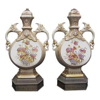 Antique Hand Painted Amphora Thistle Lamps - a Pair