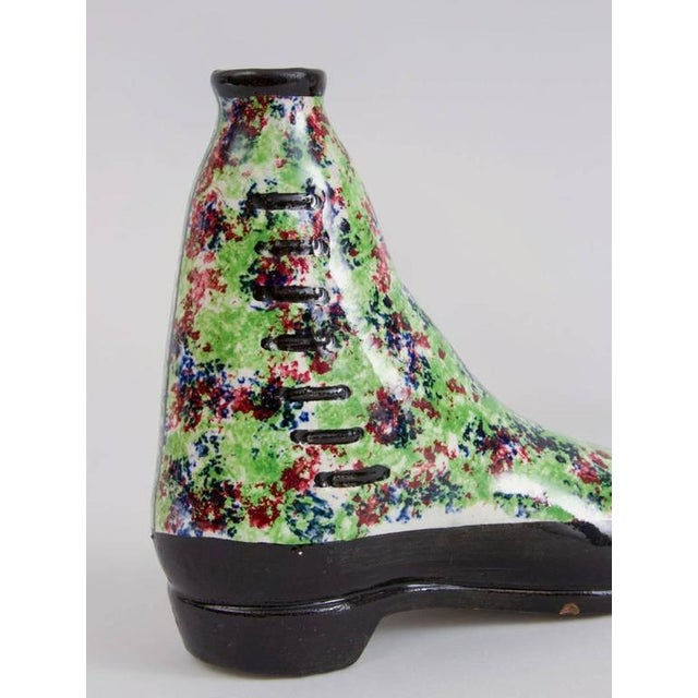 Pottery Pearlware Sponged Spirit Flasks Modeled in Form of Boots - a Pair For Sale - Image 4 of 5