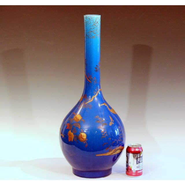 """Large Kyoto-Awaji vase in bright blue crackle glaze with cold painted lacquer decoration, circa 1910s. Measures: 25"""" high,..."""