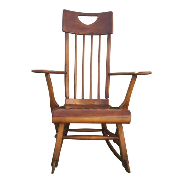 Sikes Arts and Crafts Maple Rocking Chair For Sale