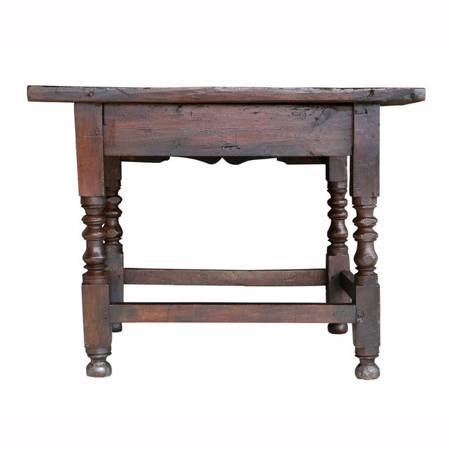 Spanish Baroque Walnut Table For Sale - Image 9 of 10