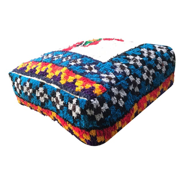 Abstract Vintage Moroccan Rug Floor Cushion Pillow - Image 3 of 5
