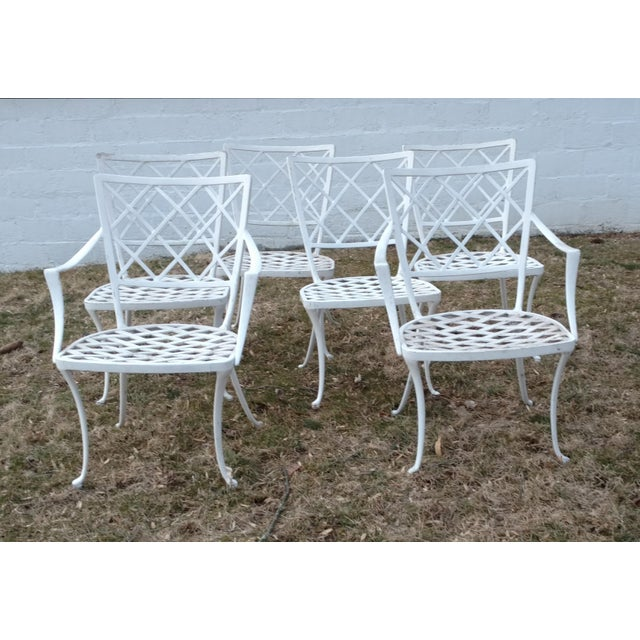 Hollywood Regency Early Brown Jordan Patio Dinning Chairs - Set of 6 For Sale - Image 3 of 5