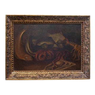 Late 19th Century Framed Sea Creature Still Life Oil Painting For Sale