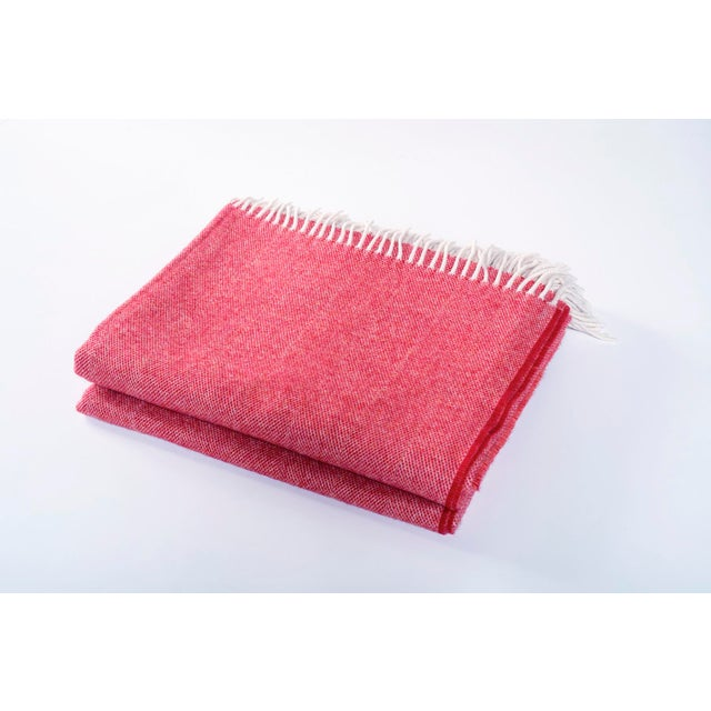 Contemporary Merino Wool Collection Cranberry Throw For Sale - Image 4 of 4